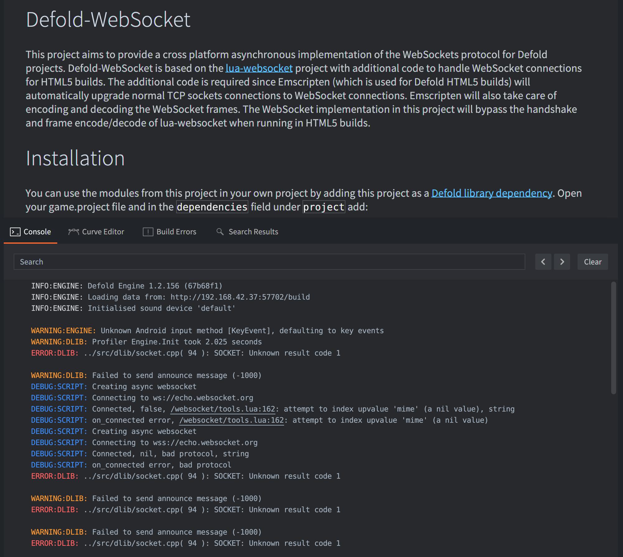 Defold-WebSocket - The Defoldmine - Defold game engine forum